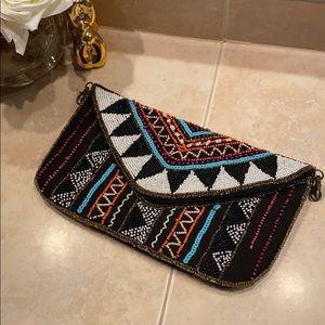 Beaded Fabric Clutch with optional 25 inch chain